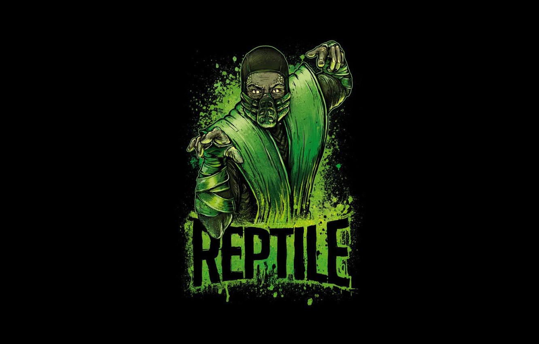 Photo wallpaper green, fighter, ninja, art, Mortal Kombat, Reptile