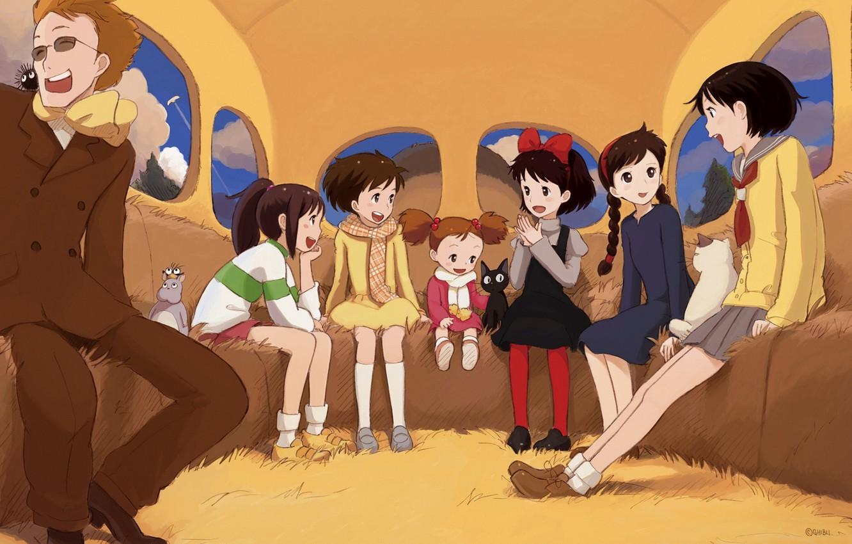 Photo wallpaper cat, girls, anime, art, witch, my neighbor Totoro, spirited away, spirited away, tonari no totoro, …