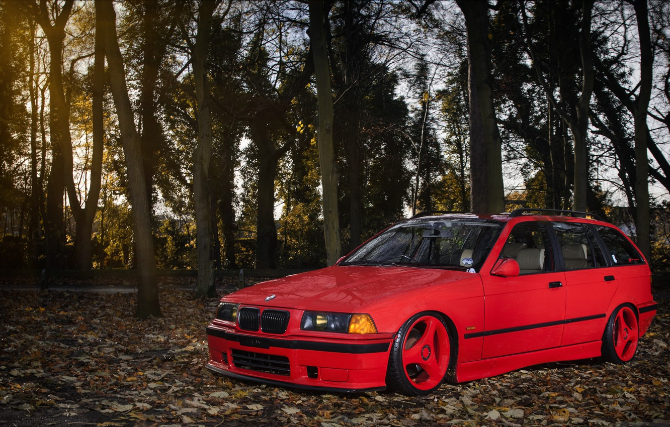 Photo wallpaper BMW, red, front, wagon, E36