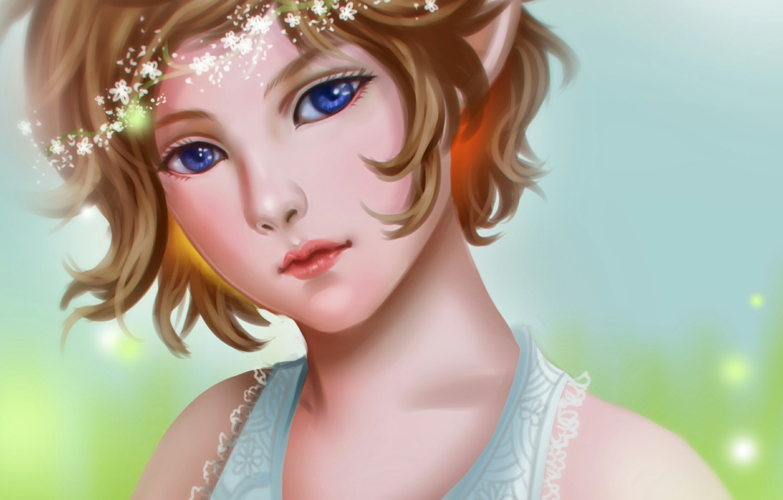 Photo wallpaper look, face, elf, art, girl, art, gattoshou