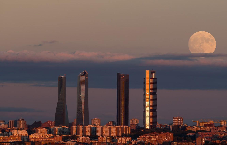 Photo wallpaper moon, twilight, sunset, dusk, Spain, buildings, Madrid, downtown, skyscrapers, cityscape, Tower Space, Torre de Cristal, …