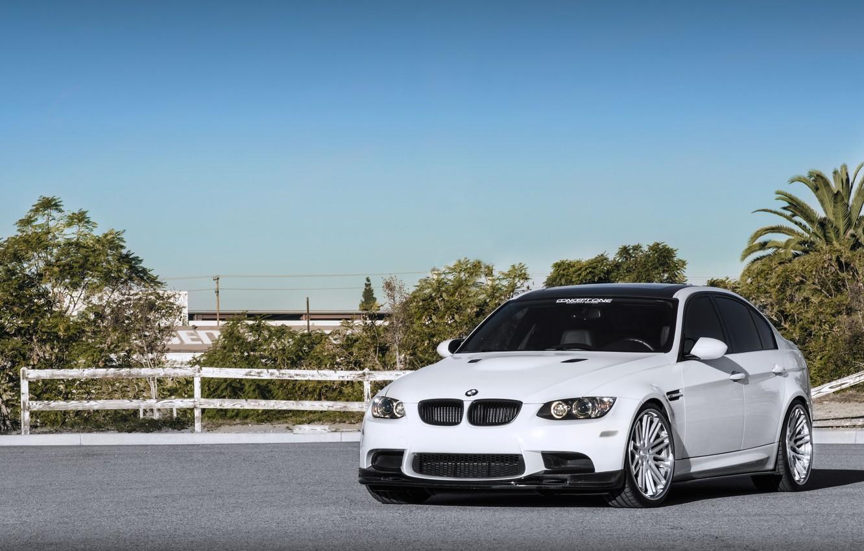 Photo wallpaper white, the sky, trees, bmw, BMW, the fence, white, front view, e90