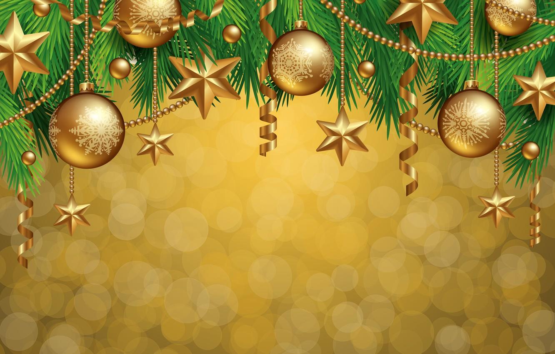 Photo wallpaper decoration, balls, tree, New Year, Christmas, golden, Christmas, balls, decoration, Merry