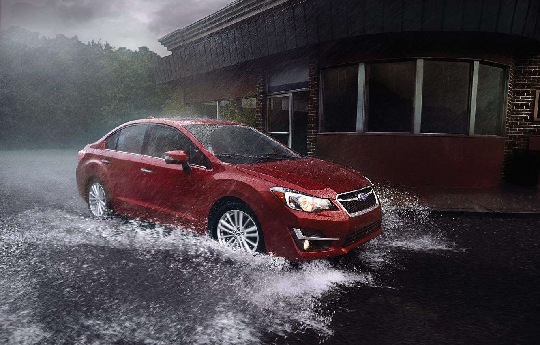 Photo wallpaper rain, Subaru, Impreza, Subaru, Impreza