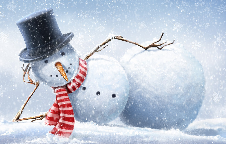 Photo wallpaper winter, snow, snowflakes, hat, scarf, snowman