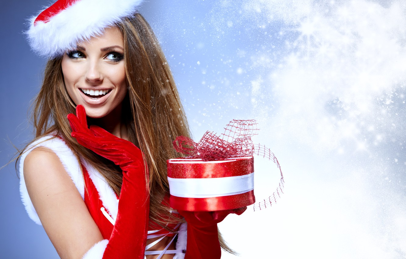 Photo wallpaper girl, snowflakes, red, box, gift, hat, New Year, Christmas, costume, gloves, maiden, brown hair, cap, …