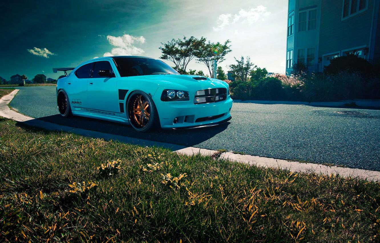 Photo wallpaper Dodge, SRT8, Car, Blue, Front, Charger, Rides, Blooded