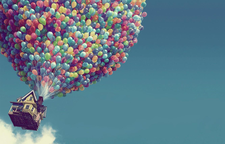 Photo wallpaper balls, house, balloons, up