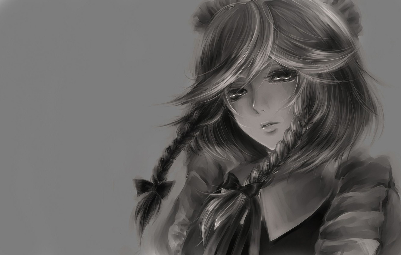Photo wallpaper look, face, background, Wallpaper, anime, b/W, girl, picture, braids