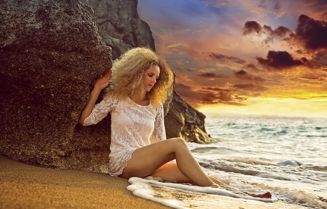 Photo wallpaper sea, girl, sunset
