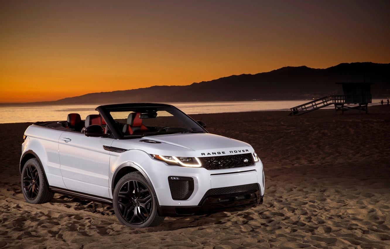 Photo wallpaper sand, beach, Land Rover, Range Rover, convertible, Evoque, Ewok, land Rover, range Rover