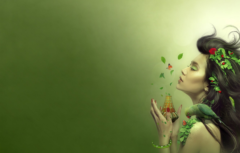 Photo wallpaper summer, leaves, girl, berries, hair, figure, snake, parrot, vase