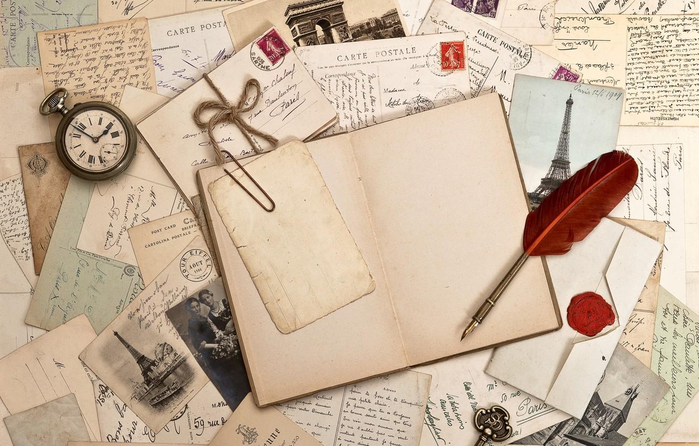 Photo wallpaper retro, pen, watch, key, book, photos, vintage, vintage, letters, brand
