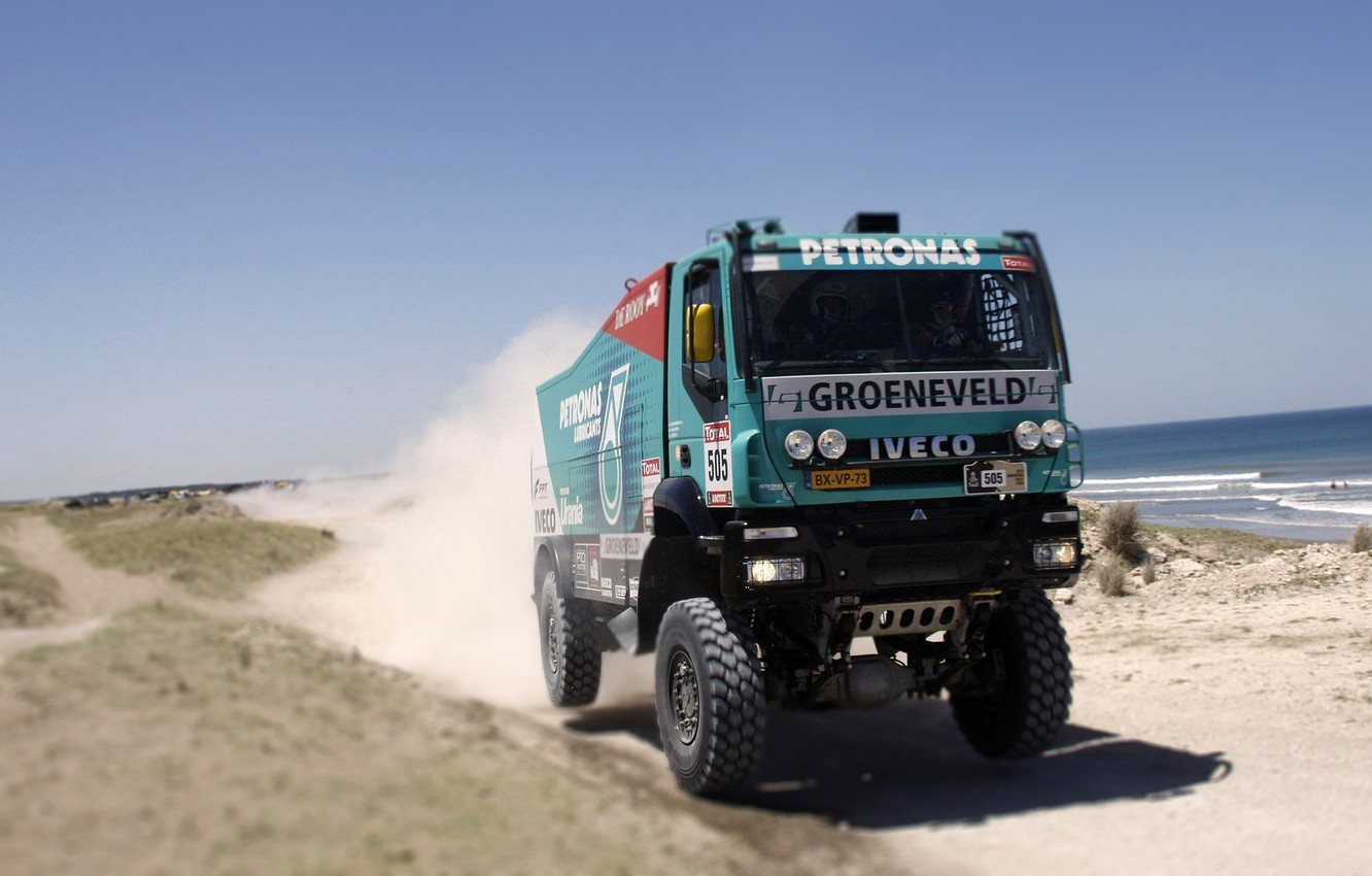 Photo wallpaper Sport, Machine, Truck, Race, Day, Lights, Cabin, Rally, Dakar, Rally, The front, Iveco