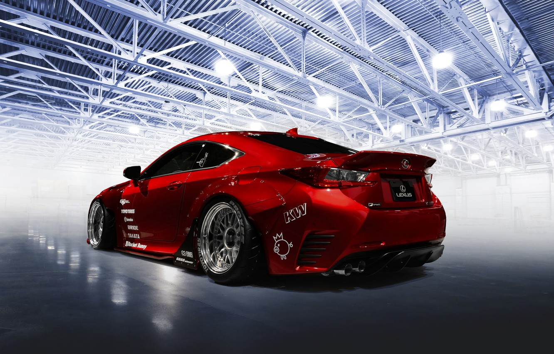 Photo wallpaper car, red, tuning, Rocket Bunny, Lexus RC-F