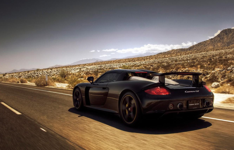 Photo wallpaper road, mountains, desert, Porsche, Porsche, Carrera GT
