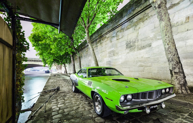 Photo wallpaper Muscle, 1971, USA, Car, Green, Barracuda, Plymouth