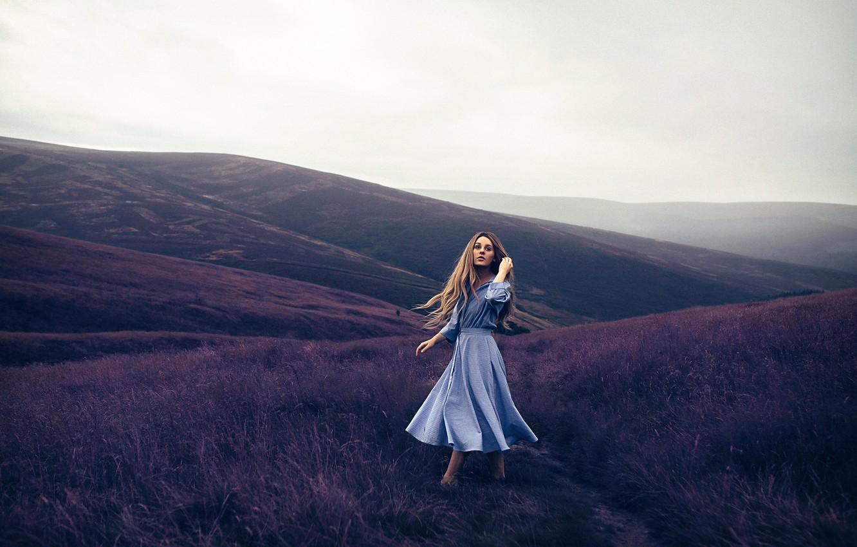 Photo wallpaper girl, hills, dress, Rosie Hardy, Violet Mountains