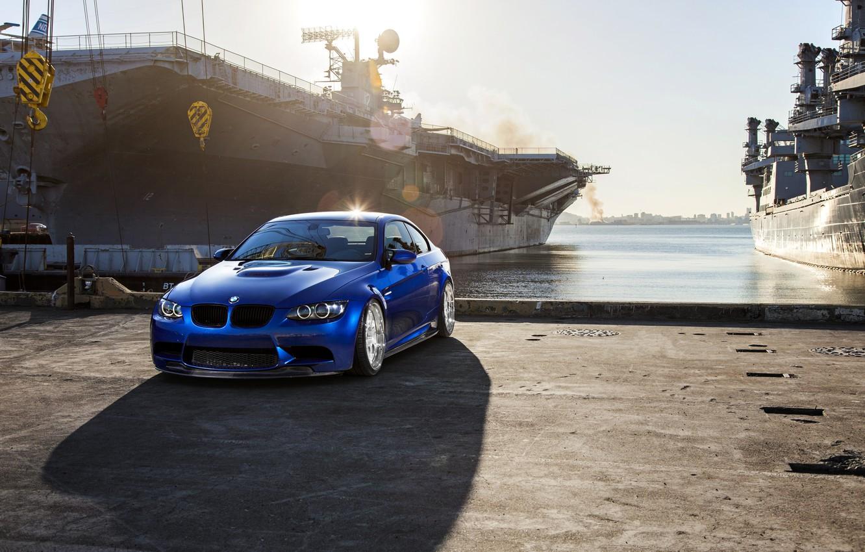 Photo wallpaper blue, bmw, BMW, shadow, pier, blue, e92