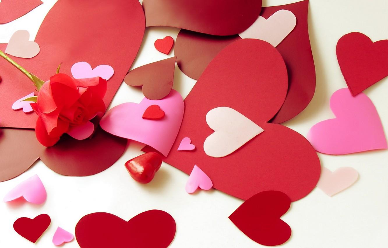Photo wallpaper flower, love, flowers, paper, mood, heart, rose, hearts, paper