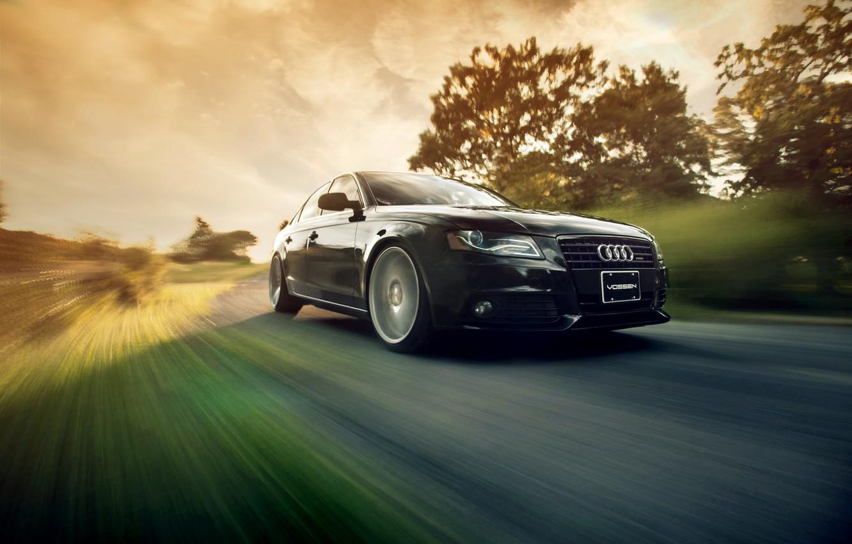 Photo wallpaper movement, speed, black, Audi A4 B8, Vossen Wheels, Ronaldo Stewart