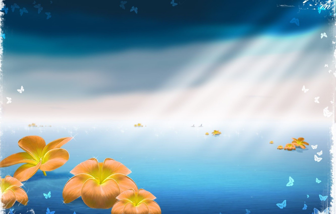 Photo wallpaper sea, rays, butterfly, flowers, blue, canvas, space