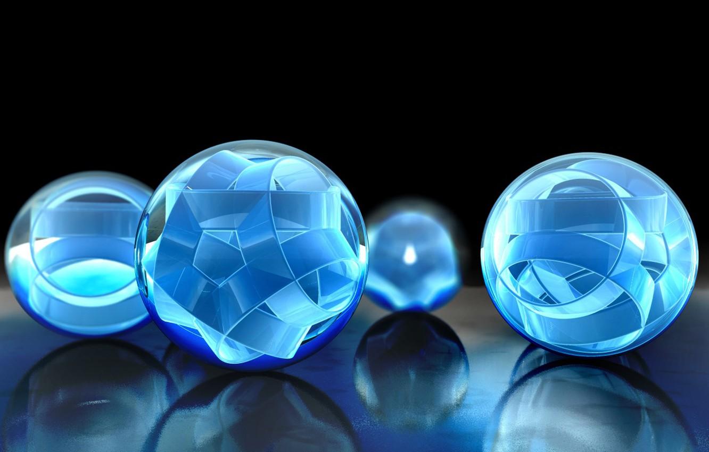 Photo wallpaper reflection, tape, blue, balls, the volume