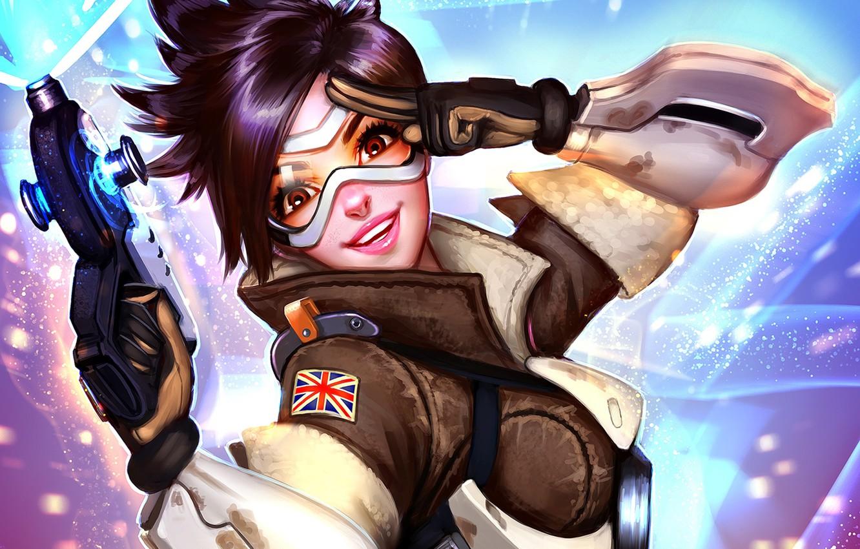 Photo wallpaper girl, smile, art, glasses, fps, Overwatch, tracer, Lena Oxton