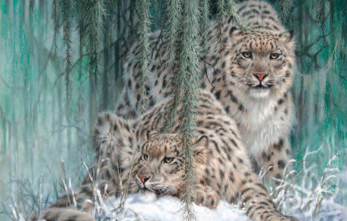 Photo wallpaper winter, snow, IRBIS, snow leopard, painting, leopards, Ghost In The Moonlight, Larry Fanning, snow leopards