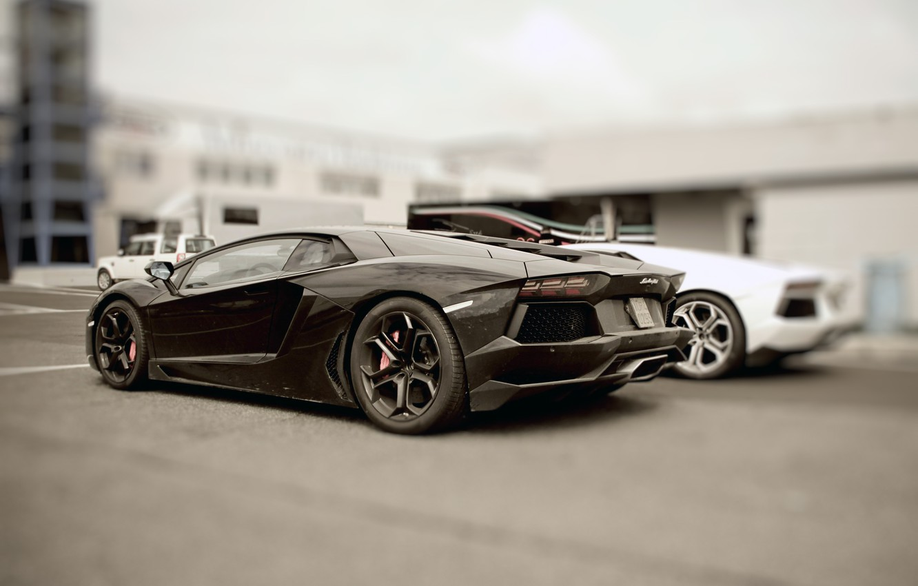 Photo wallpaper blur, Parking, lamborghini, 2012, aventador, Lamborghini
