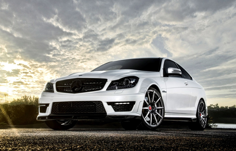 Photo wallpaper White, Machine, Tuning, Mercedes, Desktop, Mercedes, Benz, Car, 2012, Car, Beautiful, Vorsteiner, AMG, Coupe, White, …