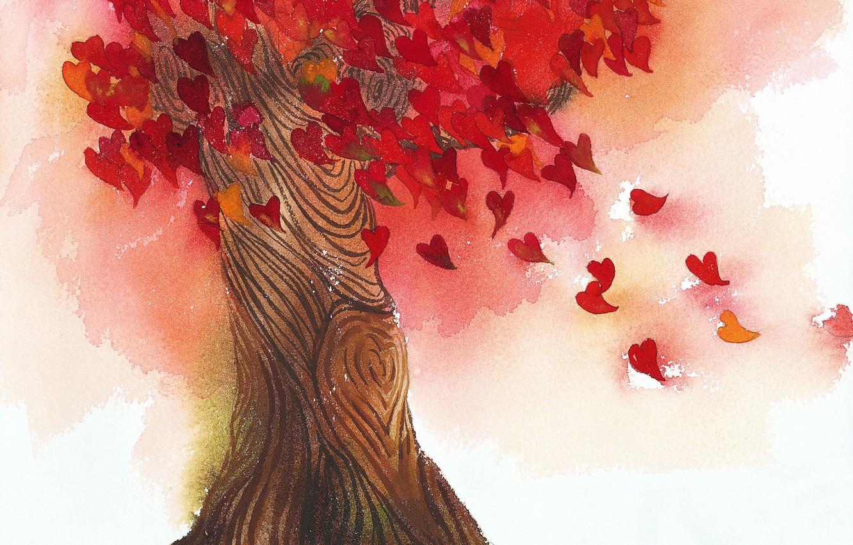 Photo wallpaper leaves, love, tree, heart
