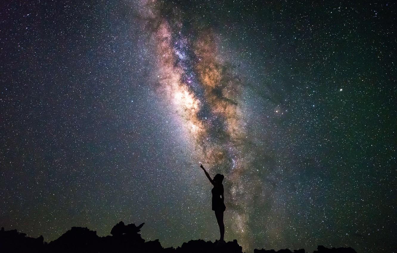 Photo wallpaper the sky, girl, stars