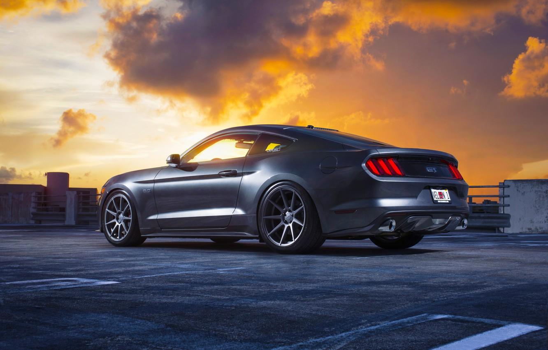 Photo wallpaper Mustang, Ford, Muscle, Car, Clouds, Sky, Sunset, Wheels, Rear, 2015, Velgen