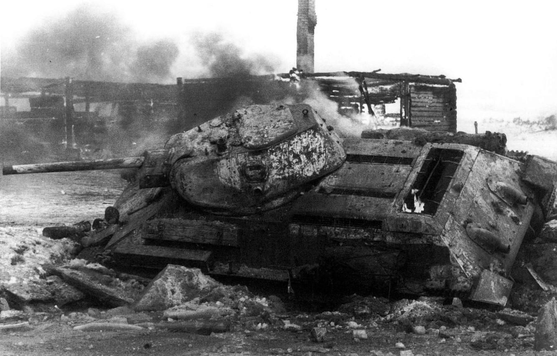 Photo wallpaper fire, war, tank, T-34