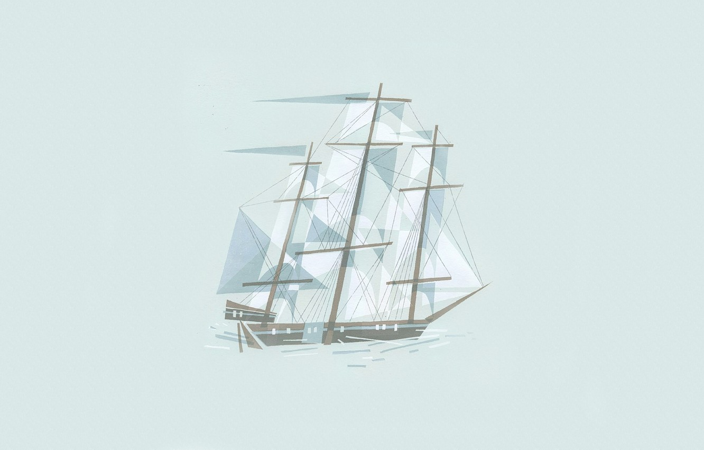 Photo wallpaper line, figure, ship, minimalism, illustration, cubism
