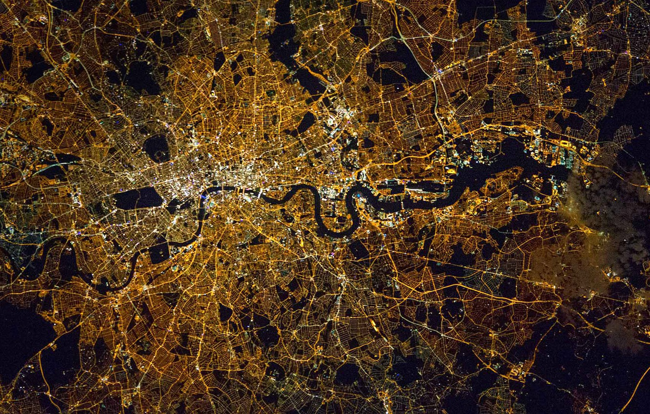 Photo wallpaper the city, England, London, photo NASA, taken from the ISS