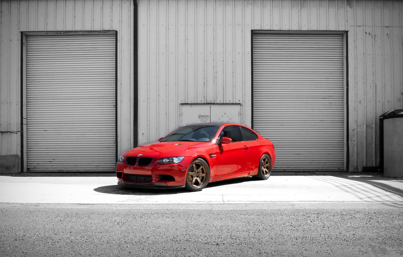 Photo wallpaper red, the building, bmw, BMW, red, billboards, e92, building, tinted, blinds