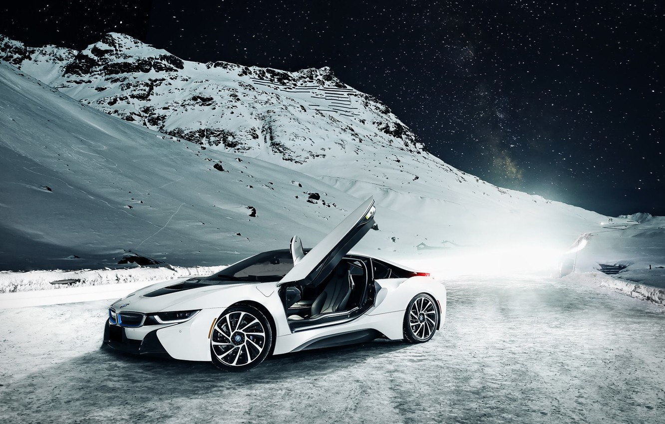 Photo wallpaper BMW, Sky, Front, Mountain, Snow, White, Ligth, Nigth