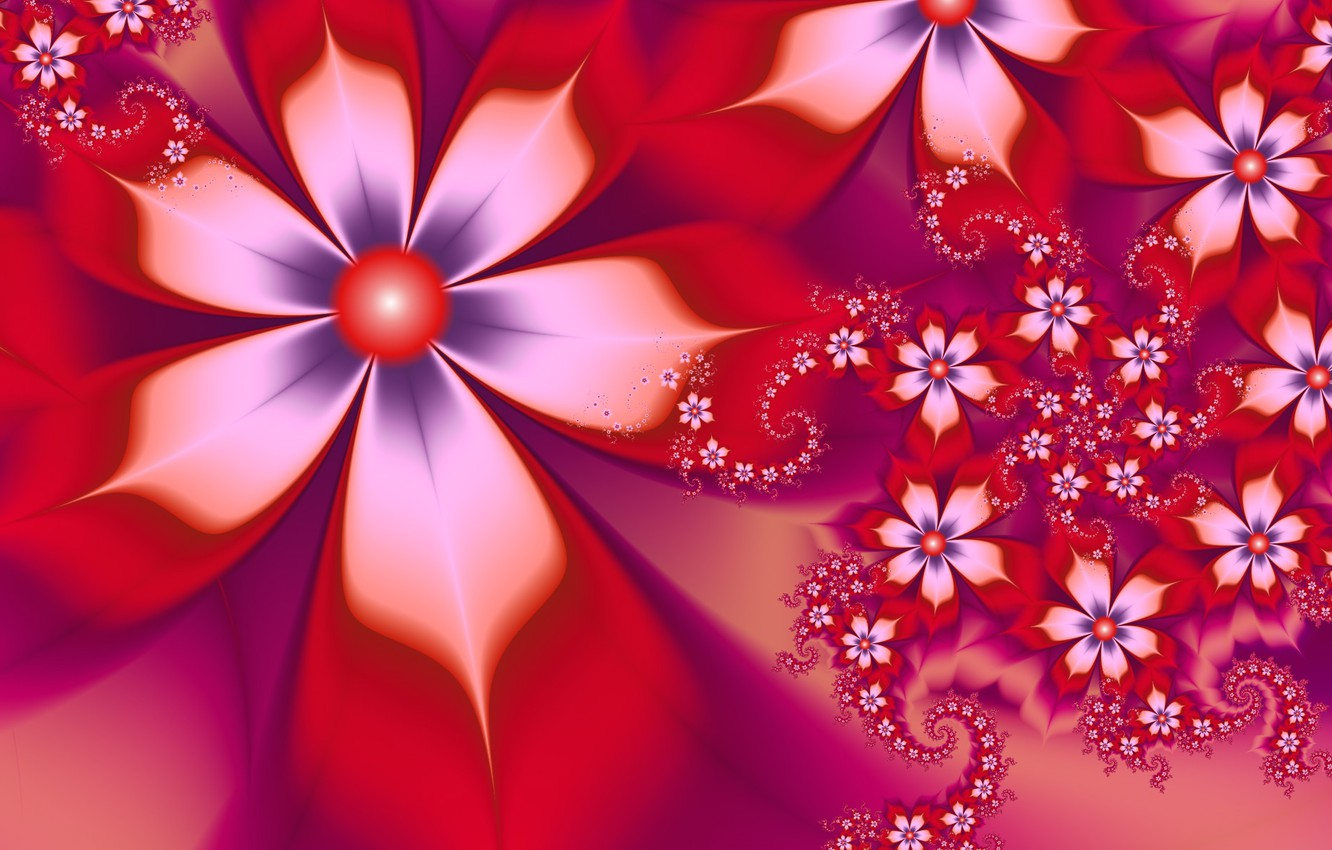 Photo wallpaper white, flowers, red, petals