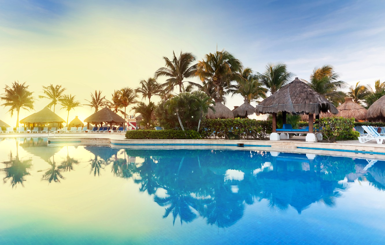Wallpaper Palm Trees Pool Resort Mexico Images For Desktop Section Gorod Download