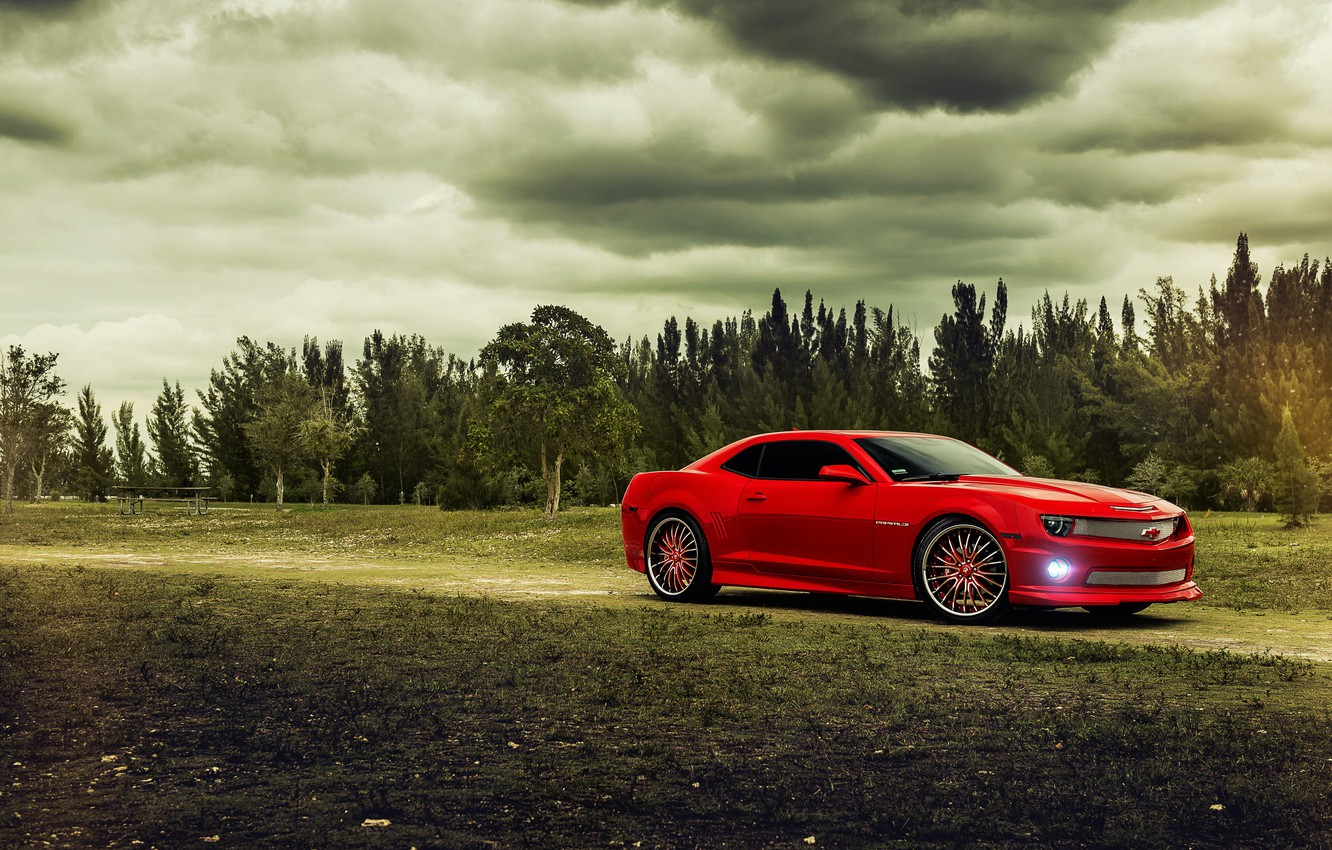 Photo wallpaper trees, red, Chevrolet, Camaro, red, Chevrolet, muscle car, muscle car, Camaro