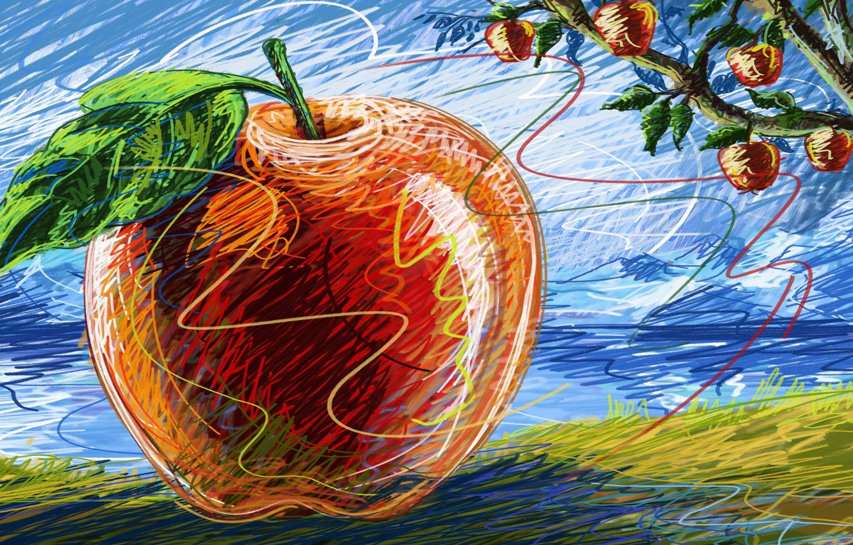Photo wallpaper macro, tree, figure, Apple, fruit, Apple