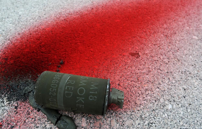 Wallpaper asphalt, red, pomegranate, smoke, M18, grenades