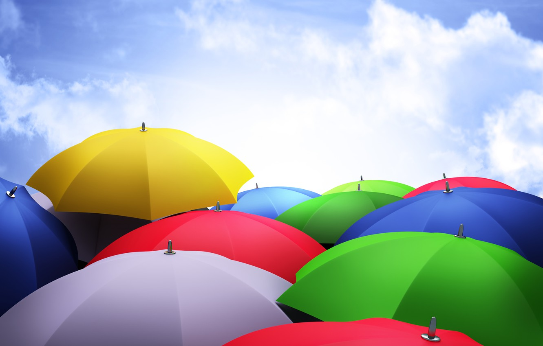 Photo wallpaper clouds, umbrellas, brightness