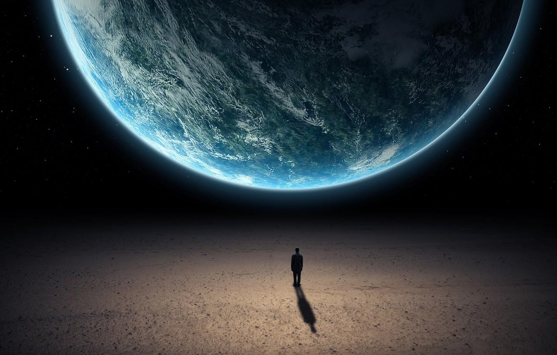 Photo wallpaper dark, planets, silhouette
