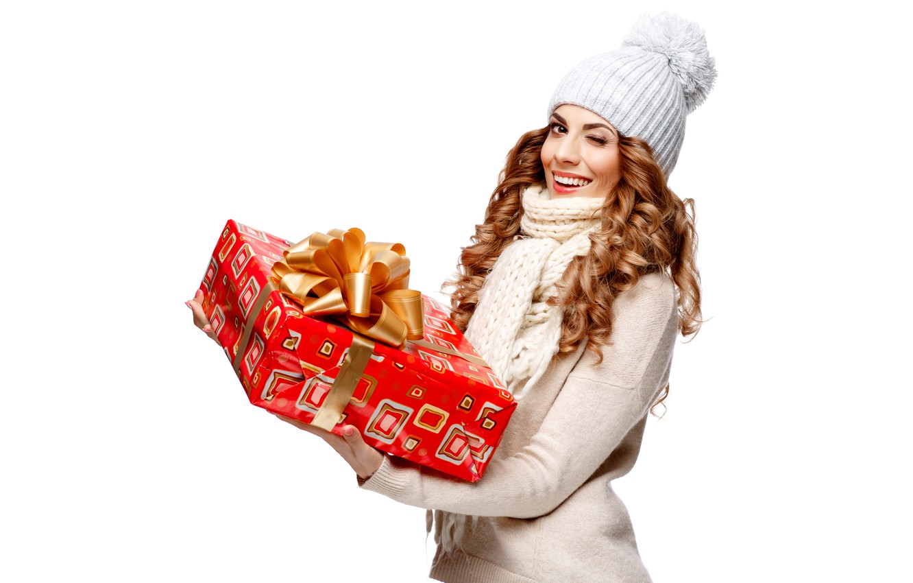 Photo wallpaper girl, joy, smile, holiday, box, gift, hat, scarf, white background, New year, brown hair, beauty, …