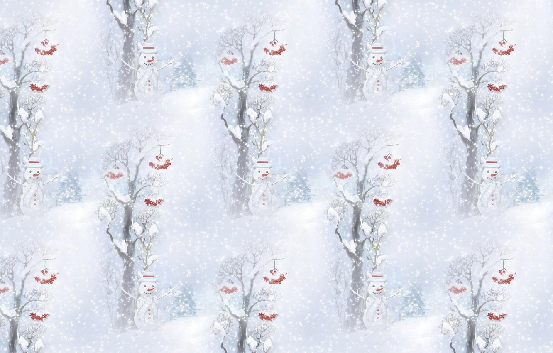 Photo wallpaper winter, snow, background, holiday, texture, New year, snowman, snowfall, Ryabinka