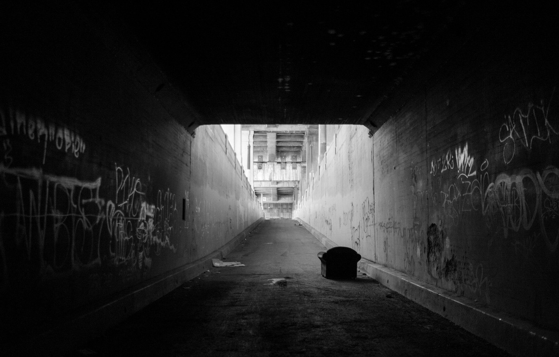 Photo wallpaper Graffiti, Wallpaper, Photo, Rinzi Ruiz, Black & White, Underpass