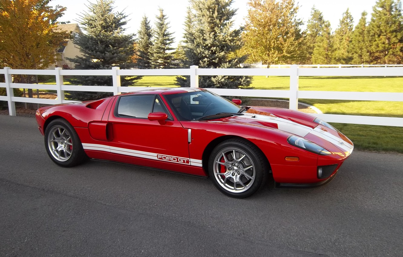 Photo wallpaper Ford, Red, White, Stripes, GT